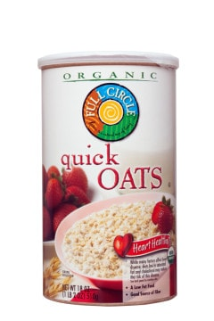 Round box of Organic Full Circle Quick Oats against a white background. This cereal is distributed by Topco Associates LLC.