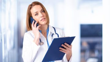 woman doctor answering a call telemedicine