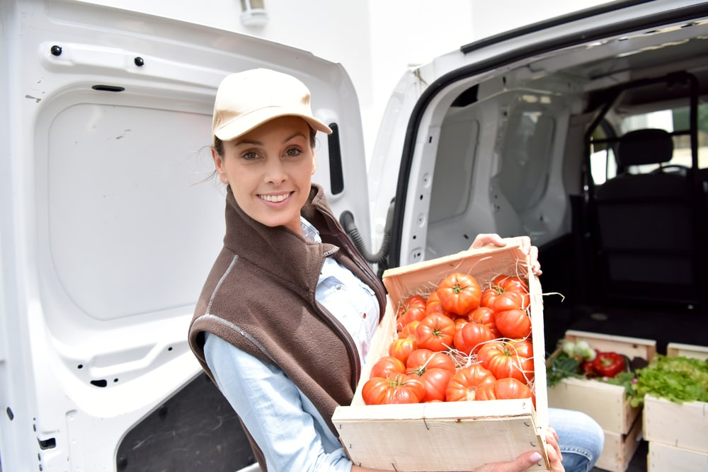 happy woman delivering  groceries with car insurance for drivers