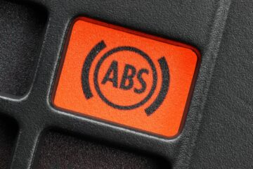 Close up of the ABS indicator on a car dashboard