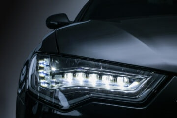 front view of a cars led headlights