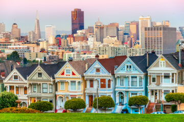 panoramic view of row of classic san francisco houses